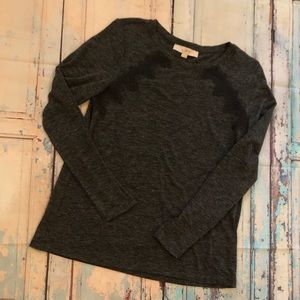 Loft Long Sleeve Top Gray/Black S